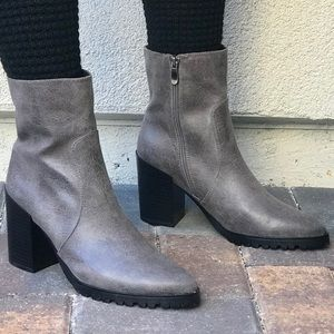 Gray Stacked Heel Lug Sole Mid Shaft Ankle Boots
